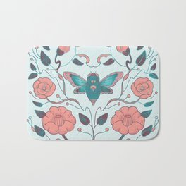 Pink camellia art Noveau Bath Mat