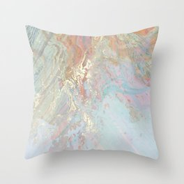 Pastel unicorn marble Throw Pillow