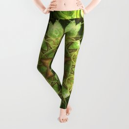 Planet Tree - Green Fractal Mandala - Manafold Art Leggings