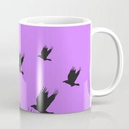FLYING FLOCK BLACK CROWS/RAVENS ON LILAC COLOR Coffee Mug