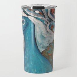 Blue Peacock with Blue Travel Mug
