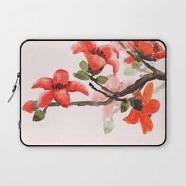 red orange kapok flowers watercolor Laptop Sleeve