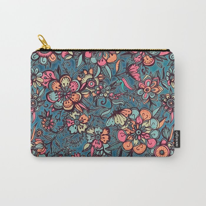 Sweet Spring Floral - melon pink, butterscotch & teal Carry-All Pouch