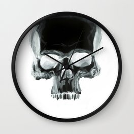 Black Skull on White Wall Clock