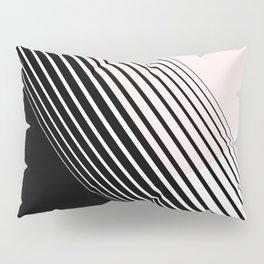 Rising Sun Minimal Japanese Abstract White Black Blush Pink Pillow Sham