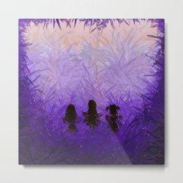 Purple Grass Fairies Trio Metal Print