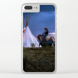 Cowboy on Horse With Teepee Clear iPhone Case