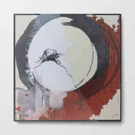 Zen Enso Daruma Buddhist Abstract Realism Painting Red Black and White  Metal Print