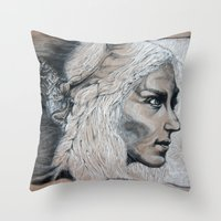 mother of dragons Throw Pillows featuring Mother by Clayton Young