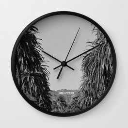 Hollywood Sign, Hancock Park Street view line by palm trees black and white photograph Wall Clock