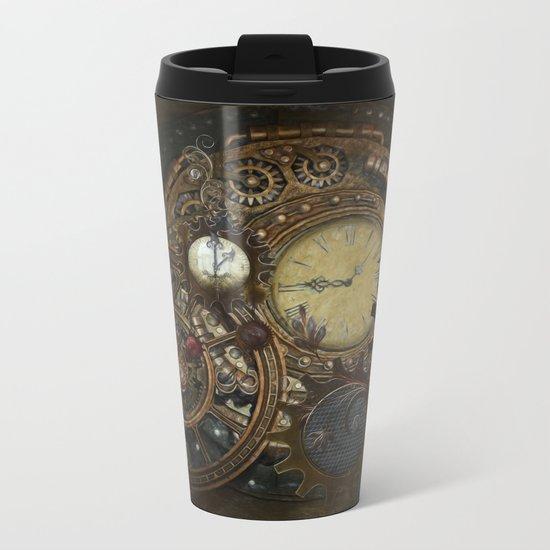 Steampunk Clocks Metal Travel Mug