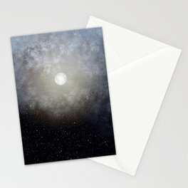 Glowing Moon in the night sky Stationery Cards