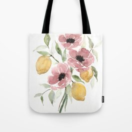 Watercolor-poppies-and-lemons Tote Bag