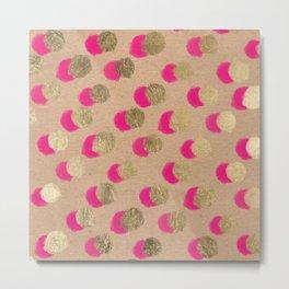 Modern Christmas watercolor neon pink gold foil polka dots on Kraft Metal Print