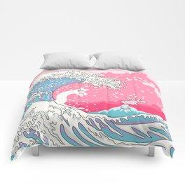 Psychodelic Bubblegum Kunagawa Surfer Cat Comforters
