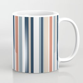 Vertical Stripes in Blues, Blush Coral, Champagne Taupe, and White Coffee Mug
