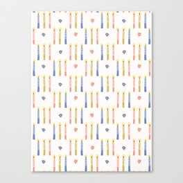 Hand drawn lit candles in blue, pink, yellow. Canvas Print