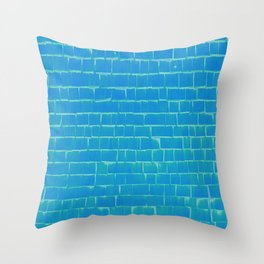 Wooden wall turquoise Throw Pillow