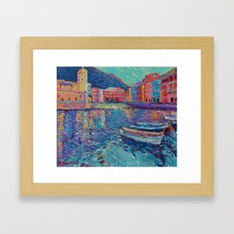 Sunset in Port of Vernazza - modern palette knife sea landscape of Italy by Adriana Dziuba Framed Art Print