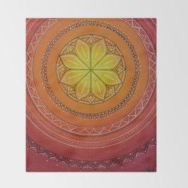 Yellow and Red Mandala Throw Blanket