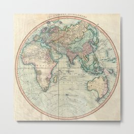 Vintage Map of The Eastern Hemisphere (1801) Metal Print
