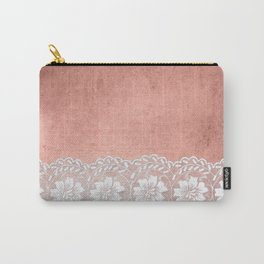 White floral luxury lace on pink rosegold grunge backround Carry-All Pouch