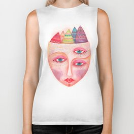 girl with the most beautiful eyes mask portrait Biker Tank