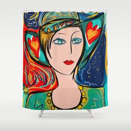 Pop Girl Art Deco with Hat and hearts Shower Curtain