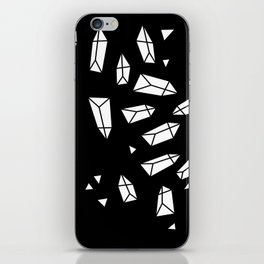 White Crystals on Black/Transparent iPhone Skin