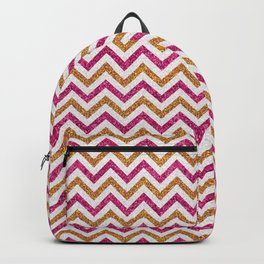 Modern magenta faux gold glitter elegant chevron Backpack