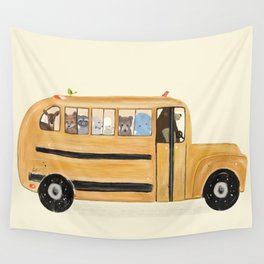 little yellow bus Wall Tapestry