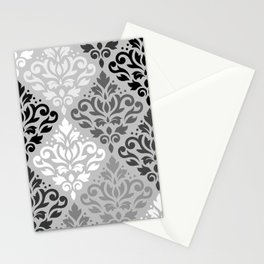 Scroll Damask Ptn Art BW & Grays Stationery Cards