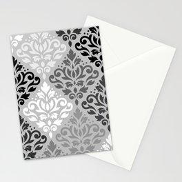 Scroll Damask Ptn Art BW & Grays Stationery Cards