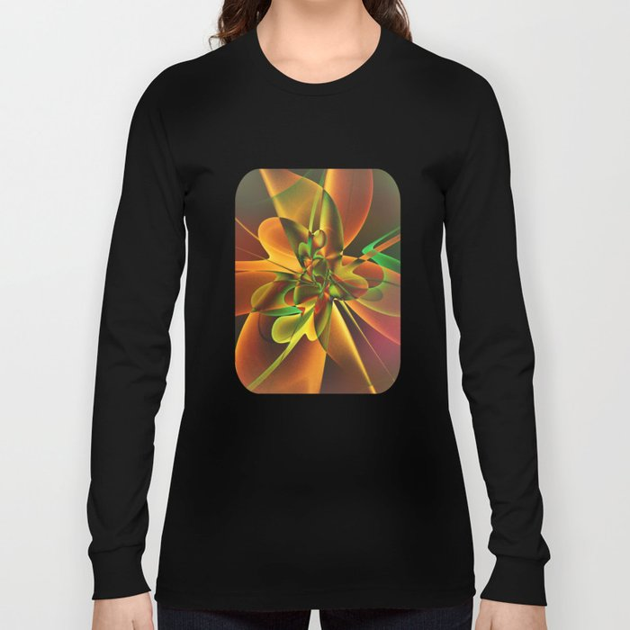 Abstract Flower - gold and green Long Sleeve T-shirt