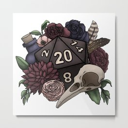 Necromancer D20 Tabletop RPG Gaming Dice Metal Print