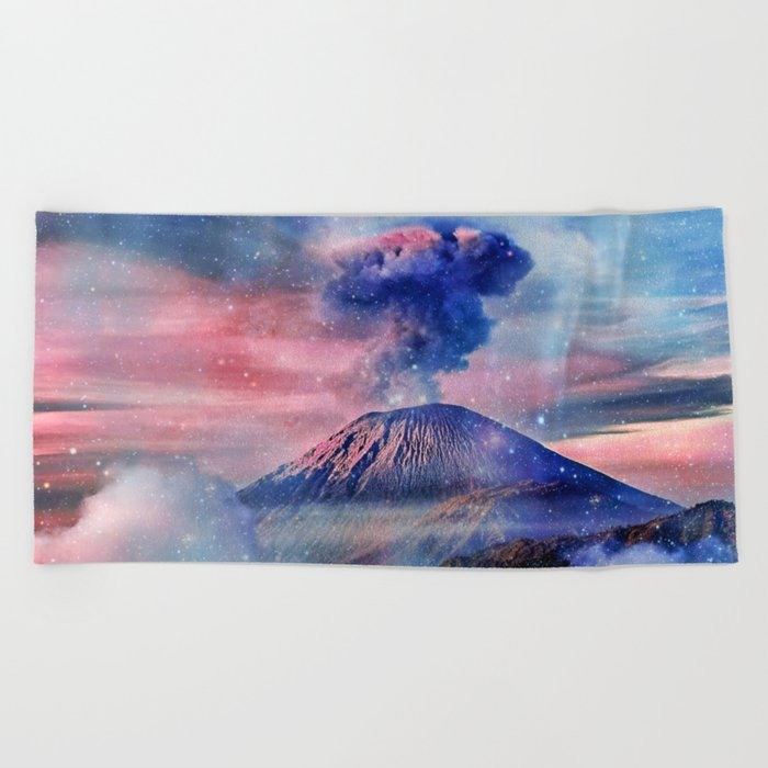 Active volcano Beach Towel