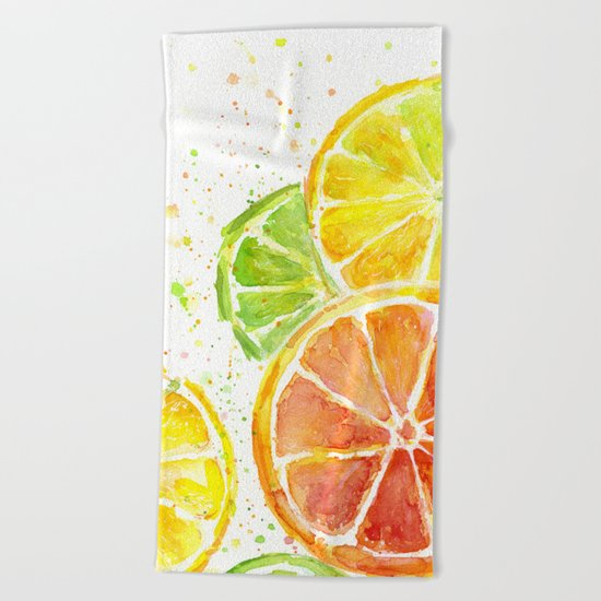 Fruit Watercolor Citrus Beach Towel