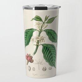 Vintage Coffee Bean Botanical Illustration Travel Mug