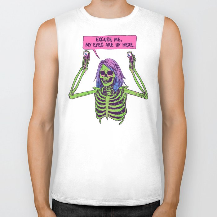 My Eyes Are Up Here Biker Tank