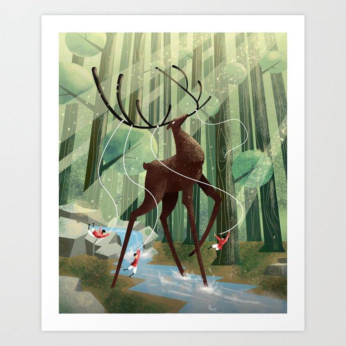 Giant deer Art Print