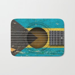 Old Vintage Acoustic Guitar with Bahamas Flag Bath Mat