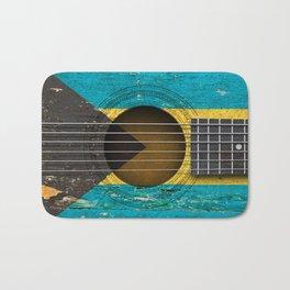 Old Vintage Acoustic Guitar with Bahamas Flag Bath Mat