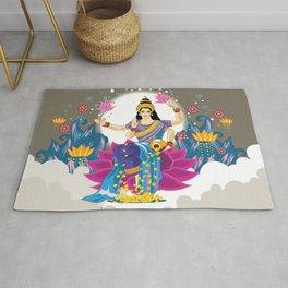 Goddess Lakshmi Cool Colors Vector Rug