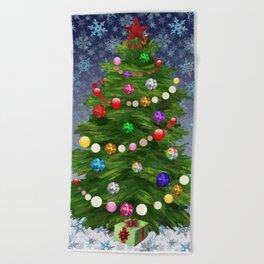 Christmas tree & snow v.2 Beach Towel