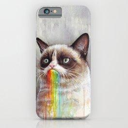 Cat Tastes the Grumpy Rainbow iPhone Case