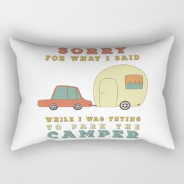 Camping Camper - Sorry For What I Said Vintage Retro Rectangular Pillow