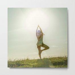Yoga tree pose on a hill Metal Print