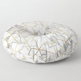 White marble geomeric pattern in gold frame Floor Pillow