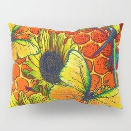 ORANGE-YELLOW BUTTERFLIES & SUNFLOWERS ARTISTIC HONEYCOMB DRAWING Pillow Sham