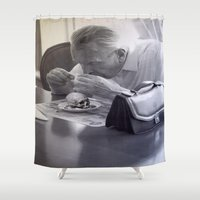 boss Shower Curtains featuring The Boss by Kristina Haritonova